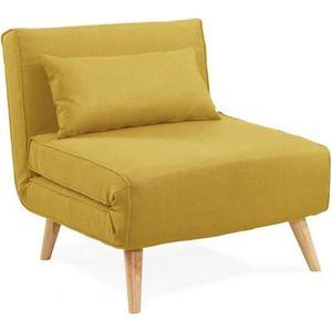 FAUTEUIL Fauteuil convertible en tissu jaune MAORA