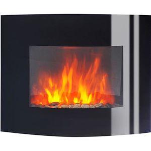 CHEMINÉE Cheminee electrique 2000W galbée noire feu de chem
