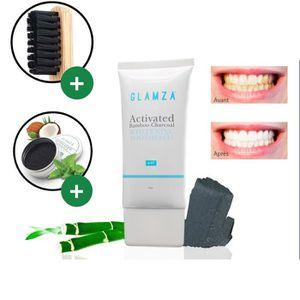DENTIFRICE Kit blanchiment dentaire ; poudre de charbon Glamz
