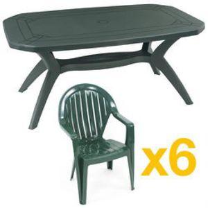 Salon de jardin vert IBIZA : 1 table 165cm + 6 Fauteuils ...
