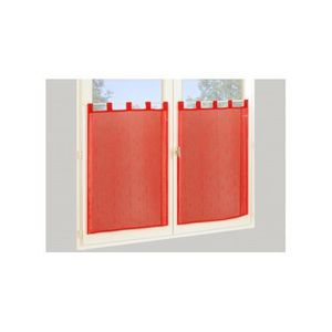 RIDEAU Paire de Vitrages Droits en Etamine Rouge 60 x 160