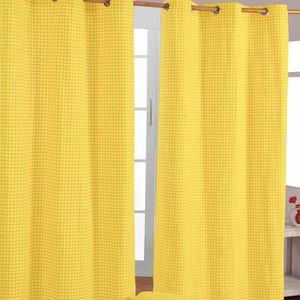RIDEAU Rideaux Vichy Jaune à oeillets 100% coton 117 x 1