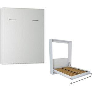 LIT ESCAMOTABLE Armoire lit escamotable SMART-V2 blanc mat couchag