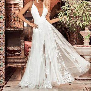 ROBE Robe Longue Les femmes sexy robe en dentelle blanc