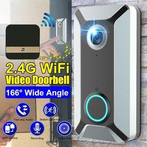 Gris Greetuny Sonnette de Porte WiFi Intelligente Cam/éra vid/éo IR sans Fil Interphone Enregistrement Cloche de s/écurit/é Domestique