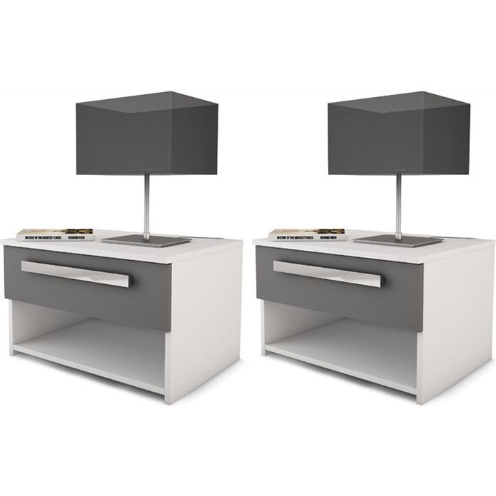 EFFY Lot de 2 tables de chevets contemporain en bois - Blanc et gris  graphite - L 55X 42 cm