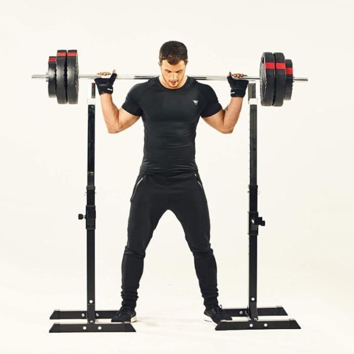 Support d'haltères Poids Noir Réglable 75-163 cm Fitness exercises de musculation Spot barre