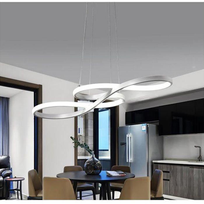 Lustre - suspension LED Courbé Blanc dimming avec télécommande Lustre Led Pendentif en acrylique Lampe moderne 58W