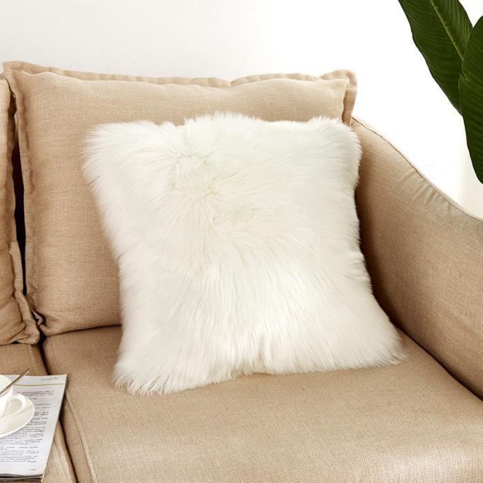 43 cm x 43 cm Mouton fausse fourrure Doux blanc Coussin Housse Taie d'oreiller Canapé Coussin Lit Maison chambre salon