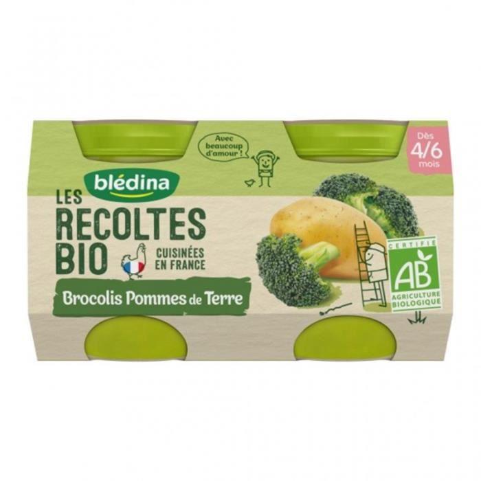 Blédina Les Récoltes Bio Brocolis Pommes de Terre (dès 4/6 mois) par 2 pots de 130g (lot de 8)