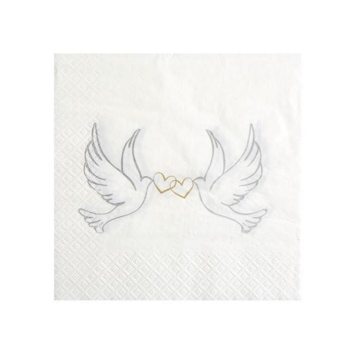 Serviettes de table Blanche a Motif Colombes 3 plis 33 x 33 cm