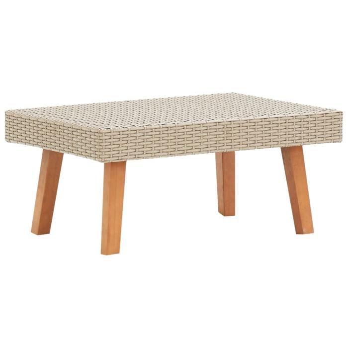Table de salon Table basse Haut de gamme - Bout de canapé Table Café de jardin Résine tressée Beige Fur© 207022