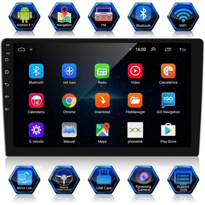 Android 9,1 Autoradio 2 DIN 10,1 Pouces Navigation GPS 1080P HD Écran Tactile Autoradio Bluetooth/WiFi Autoradio 1G/16G Multimédia