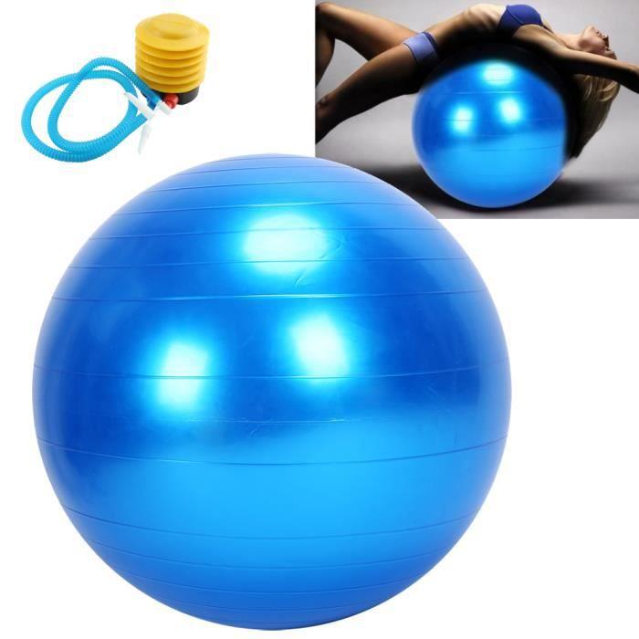 Ballon d'exercice Ballon de Gym 75cm Ballon d'exercice avec Pompe à air pour Fitness, Salle de Gym Yoga Pilâtes - Bleu -RAI