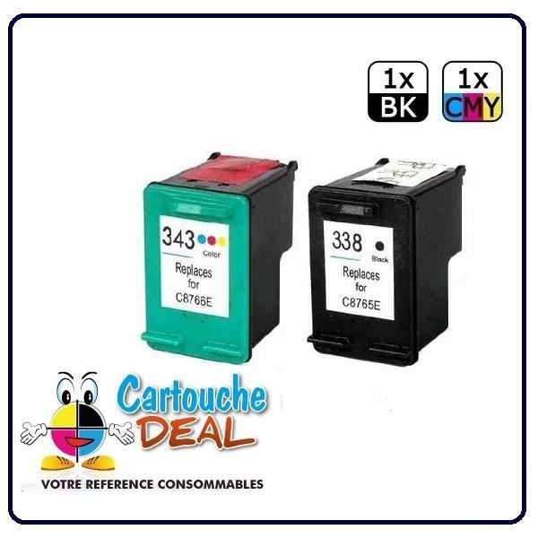 HP 338 - HP 343 - HP OfficeJet H470WF K7100 K7103 K7108 Photosmart C3100 C3170 C3180 C3190 Lot 2 cartouches compatible HP338 HP343