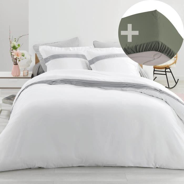 Pack Housse de couette hôtel 220x240 cm Percale luxe Astoria blanc + drap housse 140x190 Kaki