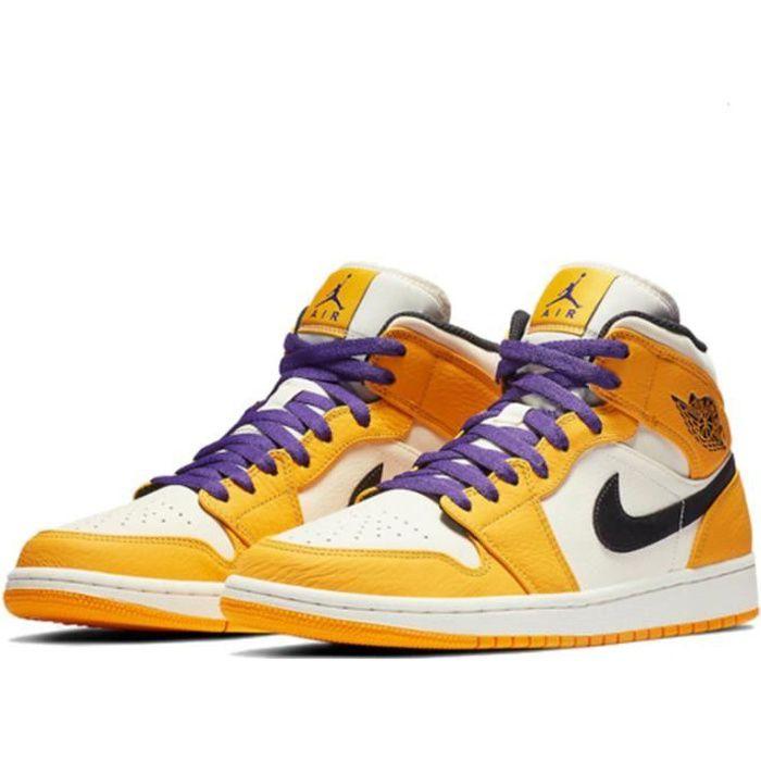 Basket Air Jordan 1 Mid -Lakers- Chaussure de Sport AJ 1 Pas Cher pour Homme Femme Jaune