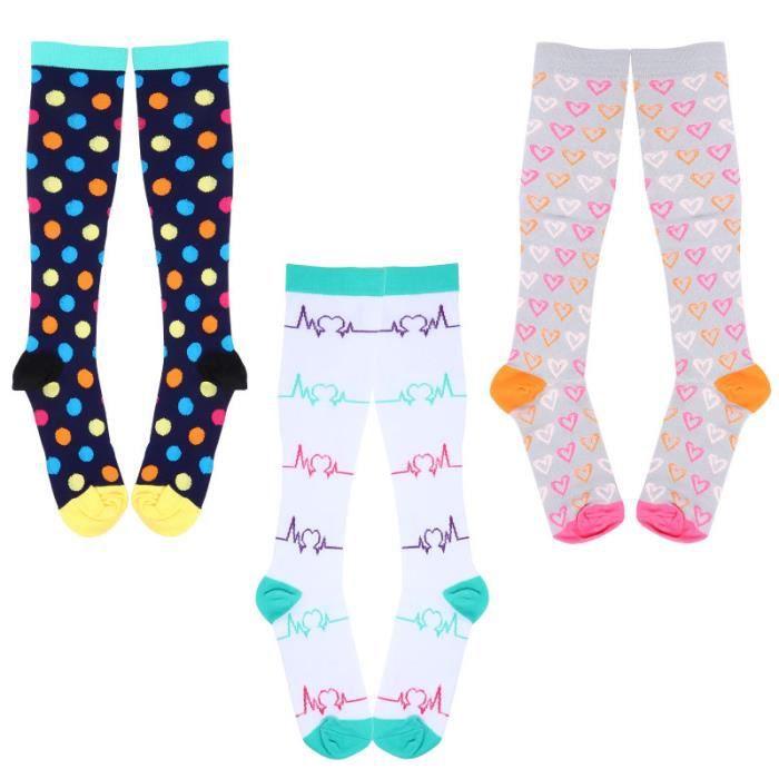 3 paires de chaussettes de colorées chaussettes de recuperation - chaussettes de textile technique