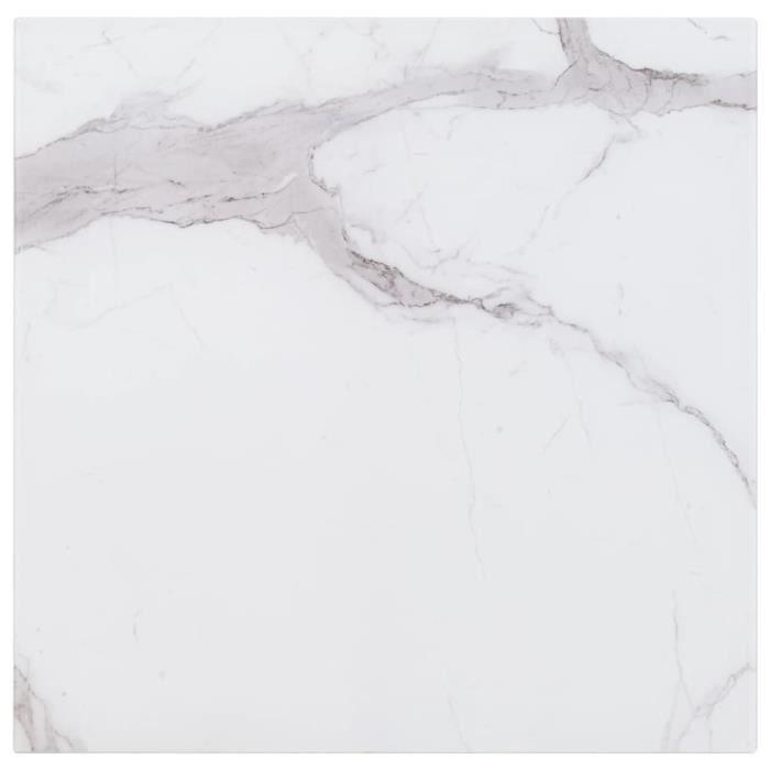 Luxueux Magnifique-Dessus de table Plateaux Blanc Carré 80x80 cm Verre et texture de marbre