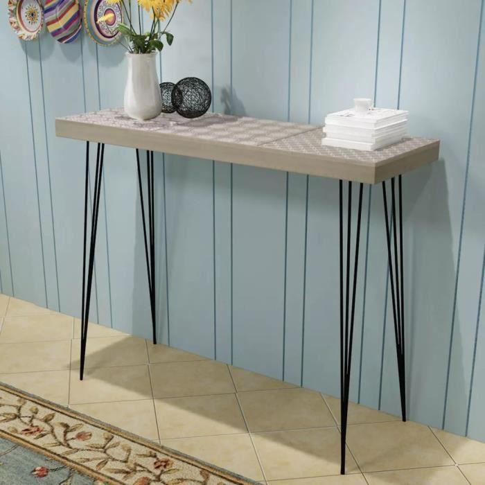 Table de Console-Table d'Appoint-style contemporain 90 x 30 x 71,5 cm Gris