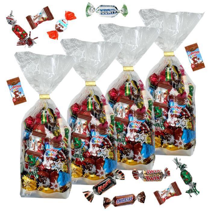 4 Sachets garnis de 35 chocolats de NOEL: mini KINDER, Célébrations, oursons CEMOI, moulages