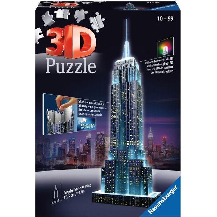 Puzzle 3D Empire State Building illuminé - Ravensburger - Monument 216 pièces - sans colle - avec LEDS couleur - Dès 10 ans