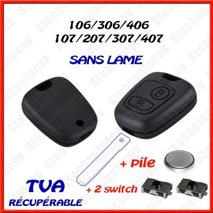 COQUE PLIP CLE TELECOMMANDE CLEF BOÎTIER COMPATIBLE CITROEN C1 C2 C3 C4 C5 C8 + 2 Switch Bouton + Pile