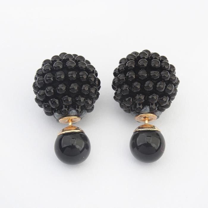 Double Côté mode perle imitation boucle d'oreille tendance Déclaration mignon charme perle boule Boucles d'oreilles pour les femmes