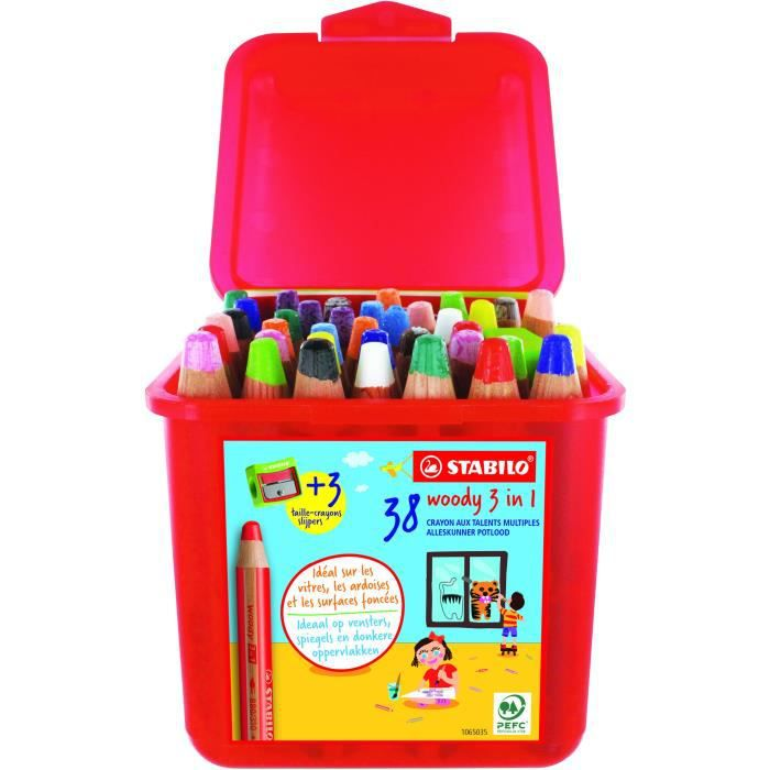 Schoolbox x 38 crayons multi-talents STABILO woody 3in1 + 3 taille-crayons
