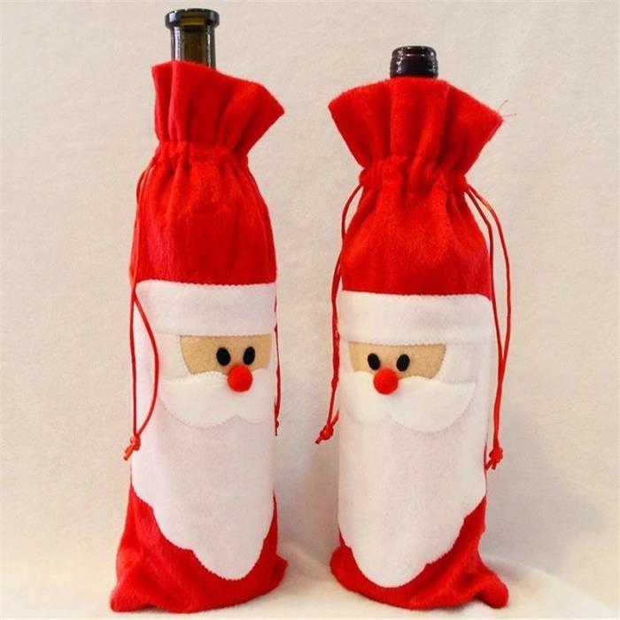 12 Pcs / lot sacs de couverture de bouteille de vin rouge décoration de table de dîner de Noël Décors de fête à la maison Père Noël