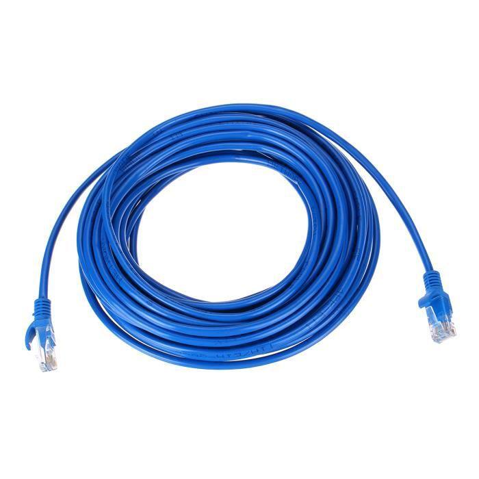 Tempsa 20M Câble Réseau Cat5e Lan Ethernet Cristal Tête Rj 45 Pour Routeur