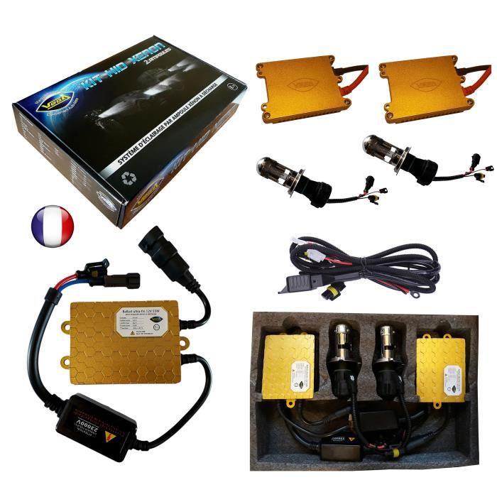 Kit HID Bi Xénon Marque FRANCAISE Vega® H4 HILO 5000K 55W Slim DSP AC ampoules à embase métallique