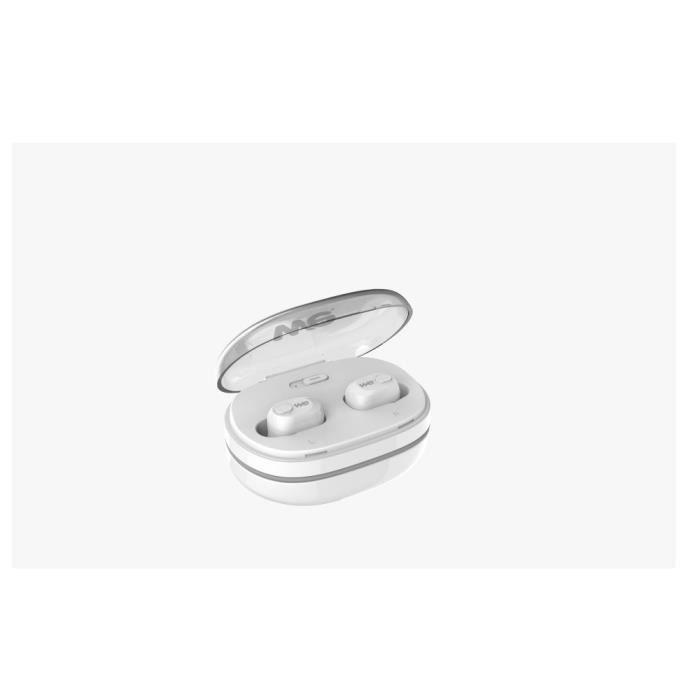 WEEcouteurs sans fil - Earpod - Blanc HD bass sound - Bluetooth 5.0 Cable de charge intégré Boitier de recharge (x18 recharges)