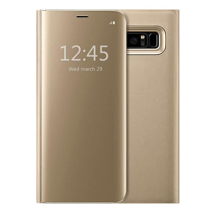 Coque pour Samsung Galaxy Note 8, Clear View Flip Coque Cover Mince Translucide Miroir Housse - Or