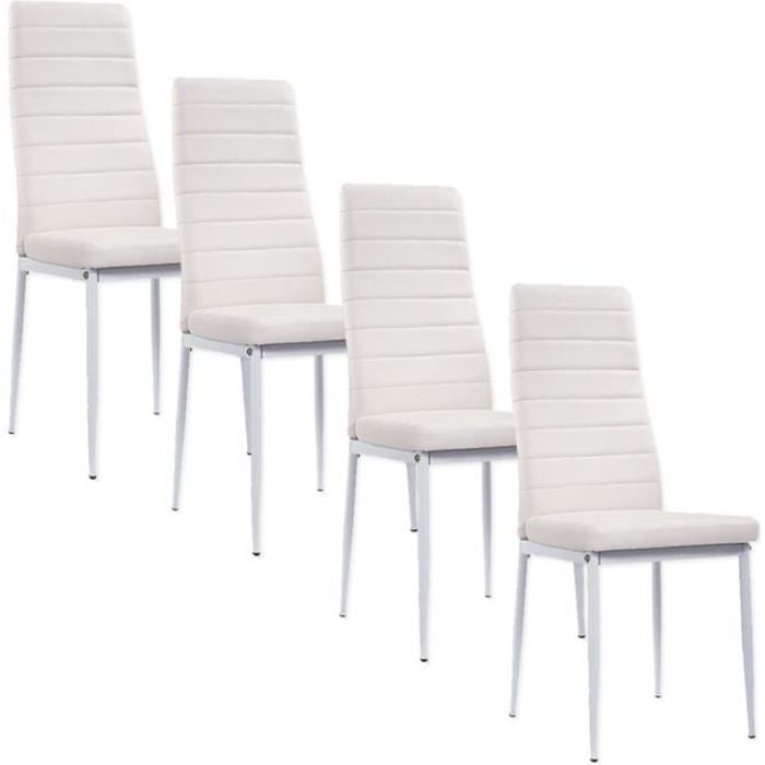 lot de 4 chaises blanche matelass giga achat vente chaise blanc cdiscount. Black Bedroom Furniture Sets. Home Design Ideas