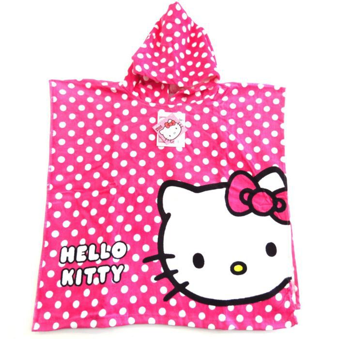 poncho sortie de bain enfant hello kitty rose achat. Black Bedroom Furniture Sets. Home Design Ideas