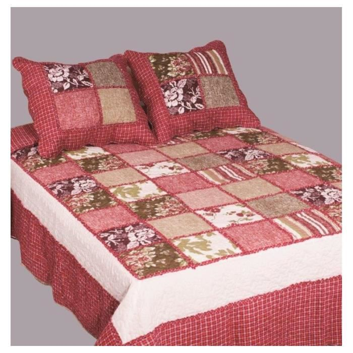 couvre lit boutis 2 places patchwork dahlia rouge achat vente jet e de lit boutis cdiscount. Black Bedroom Furniture Sets. Home Design Ideas