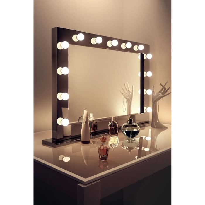 miroir de maquillage hollywood ultra brillant noir avec ampoules graduables k314 taille l. Black Bedroom Furniture Sets. Home Design Ideas