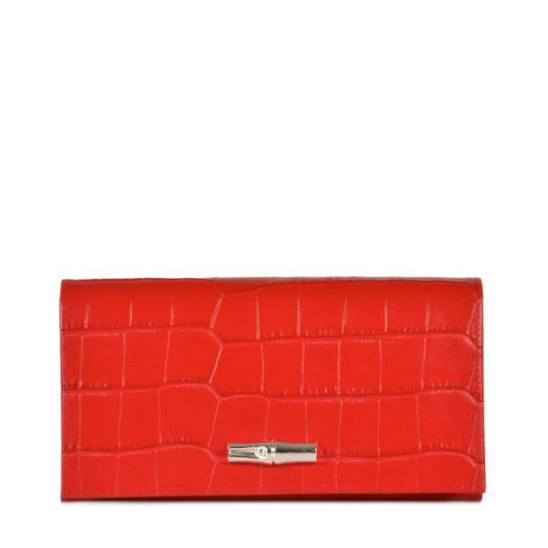 LONGCHAMP - portefeuille femme - ROUGE ROSEAU CROCO Rouge Rouge ...