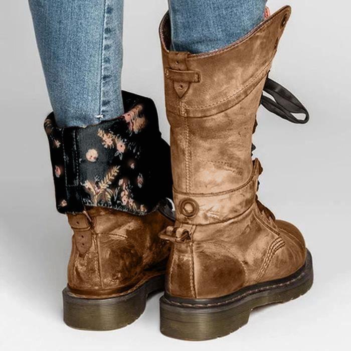 Chaussures à antidérapante Femmes Martin Frandmuke5150 en Bottes Rétro bout cuir rond lacets Moyen Boot rdCxeWBo