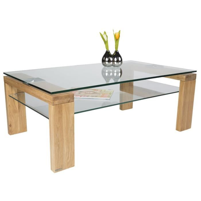 Table basse en bois et verre tremp coloris ch ne sauvage - Table salon verre trempe ...
