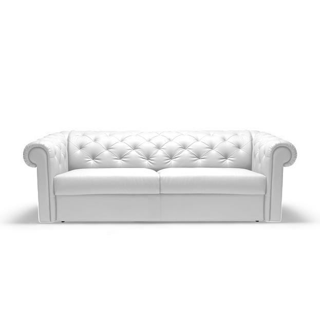 Canapé Convertible Rapido CHESTERFIELD Cuir Blanc Achat Vente - Canapé convertible cuir blanc