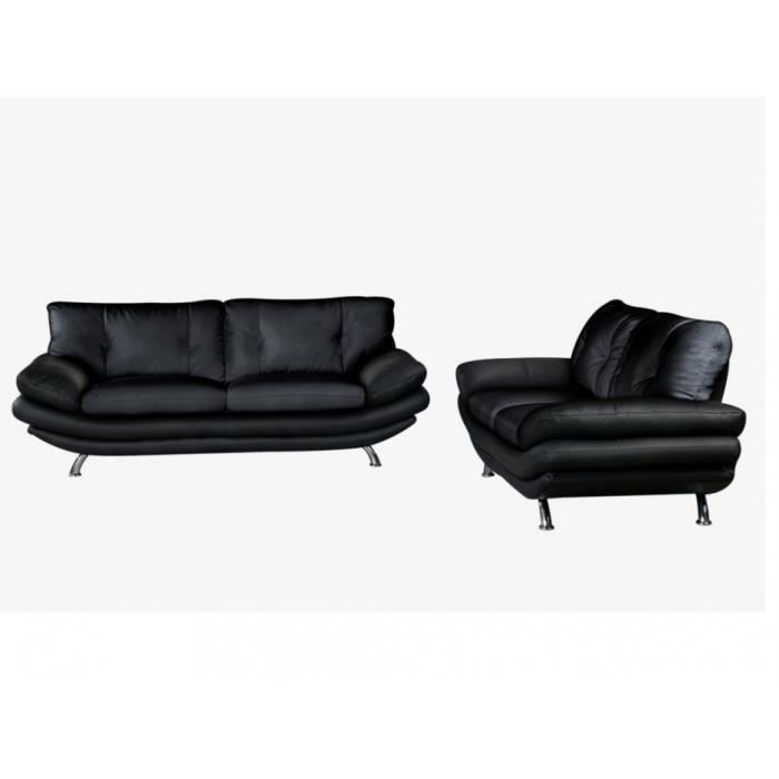 Canap s 3 2 places simili forrest noir achat vente for Canape 2 places noir