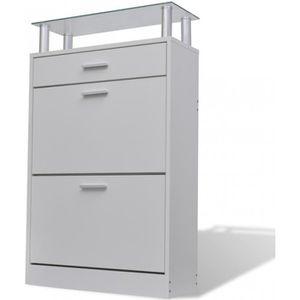 MEUBLE À CHAUSSURES Meuble armoire à chaussure bois tiroirs 12 paires