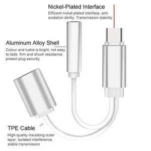 ADAPTATEUR AUDIO-VIDÉO  LR Câble Usb Blanc Type-C Vers 3.5 Câble Type-C Po