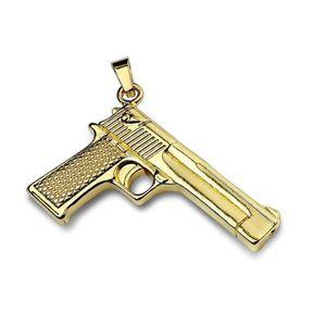 PENDENTIF VENDU SEUL Pendentif en acier inoxydable pistolet doré