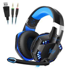 CASQUE - ÉCOUTEURS Casque gamer micro LED haute précision -Bleu