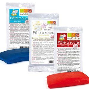 PATE A SUCRE Kit de pâte à sucre France - bleu-blanc-rouge - 45