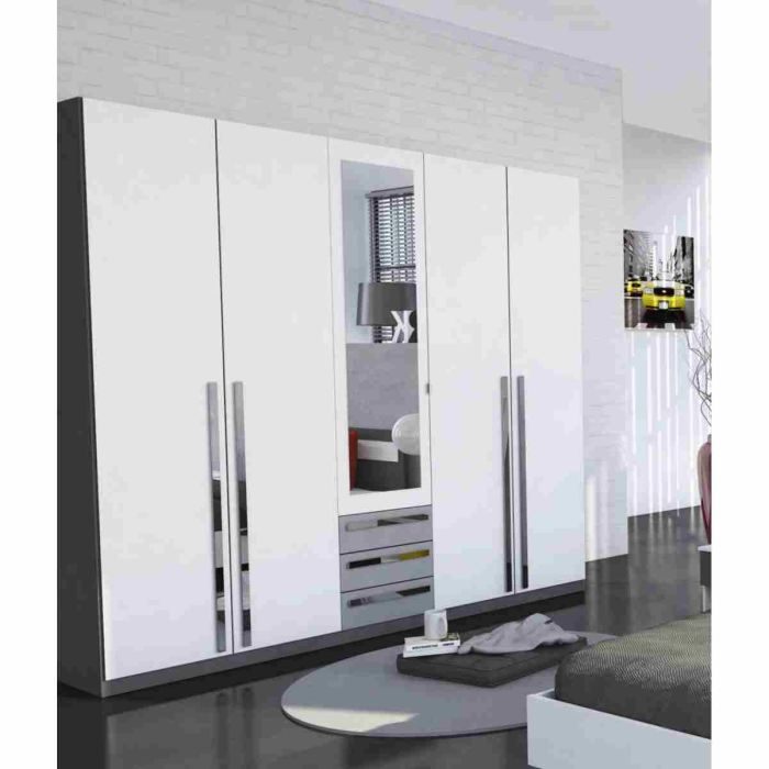 effy armoire 5 portes blanc gris 214x52x210cm achat. Black Bedroom Furniture Sets. Home Design Ideas