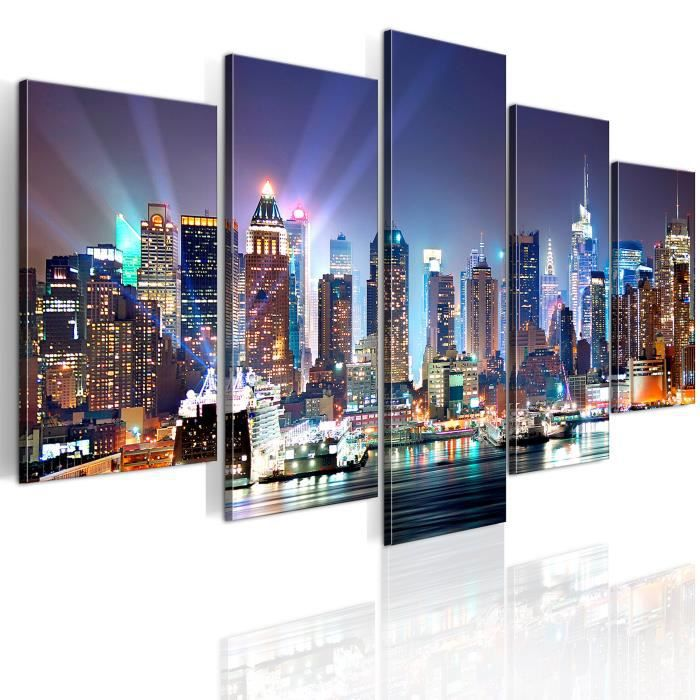 Tableau - Ville illuminée - 100x50 - Villes - New York